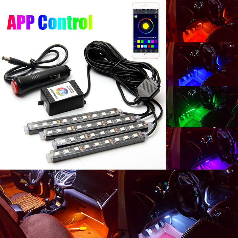 4x9led bluetooth app control rgb car interior decorative floor atmosphere strip lamp light voice. Black Bedroom Furniture Sets. Home Design Ideas