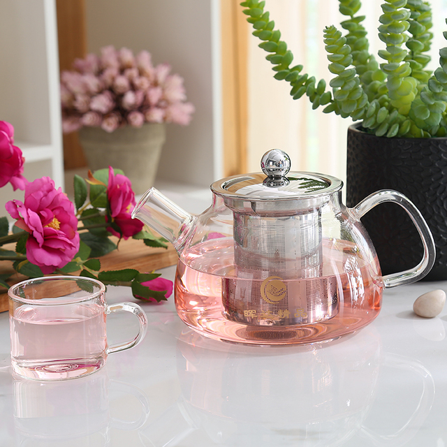 11oz 600ml 800ml High Quality Heat Resistant Glass Teapot With Stainless Steel Infuser And Lid Coffee