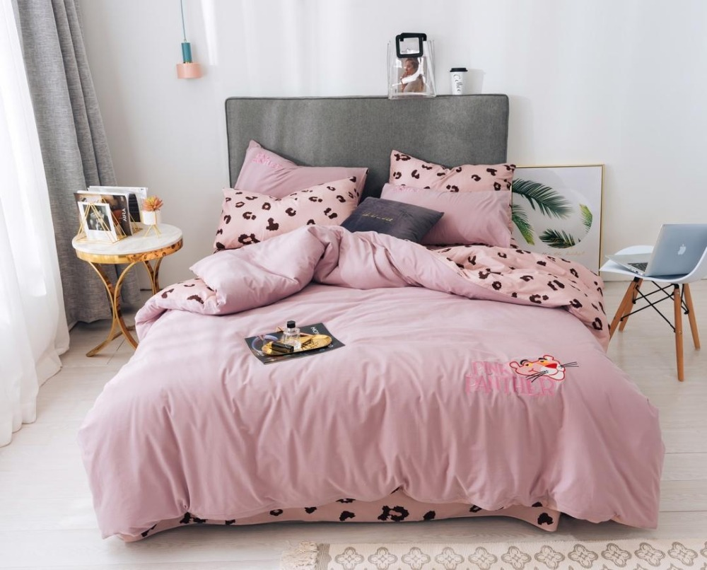 US $72.6 40% OFF|Double sided use Bedding Set leopard print Bed Set Cotton  Bed Sheet Twin Queen King Size Duvet Cover Set pink Bed Linen-in Bedding ...