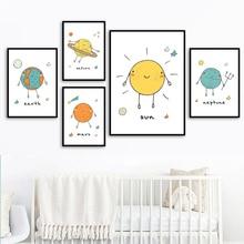 цена на Earth Moon Sun Mars Venus Planet Wall Art Canvas Painting Kids Nordic Posters And Prints Wall Pictures Baby Nursery Room Decor