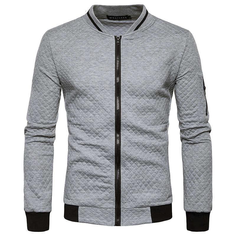 Herren Hoodies 2020 Männlich Marke Casual Zipper Jacke Stehen-Neck Sudaderas Hombre Sweatshirt Weiß Überprüfen 3D Plaid Trainingsanzug XXL