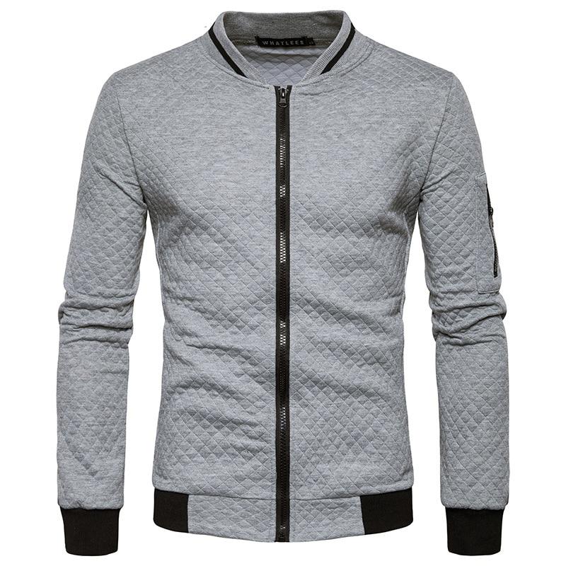 Mens Hoodies 2019 Male Brand Casual Zipper Jacket Stand-Neck Sudaderas Hombre Sweatshirt White Check 3D Plaid Tracksuit XXL