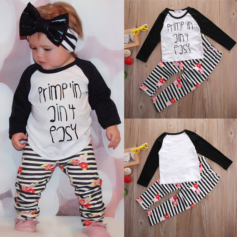 T-shirt Letter Flower Tops Pants Sttiped Leggings Girl Clothing Outfits Boutique Kids Baby Toddler Girls Clothes Set 2pcs children outfit clothes kids baby girl off shoulder cotton ruffled sleeve tops striped t shirt blue denim jeans sunsuit set