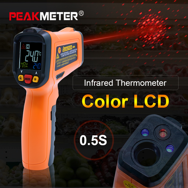 цена PEAKMETER PM6530 digital thermometer non contact Infrared Thermometer -50~800 + Humidity Dew Point IRT K type Ambient UV Light