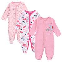 3 PCS Baby Romper Long Sleeves Bodysuit 100 Cotton Baby Pajamas Cartoon Printed Newborn Baby Girls