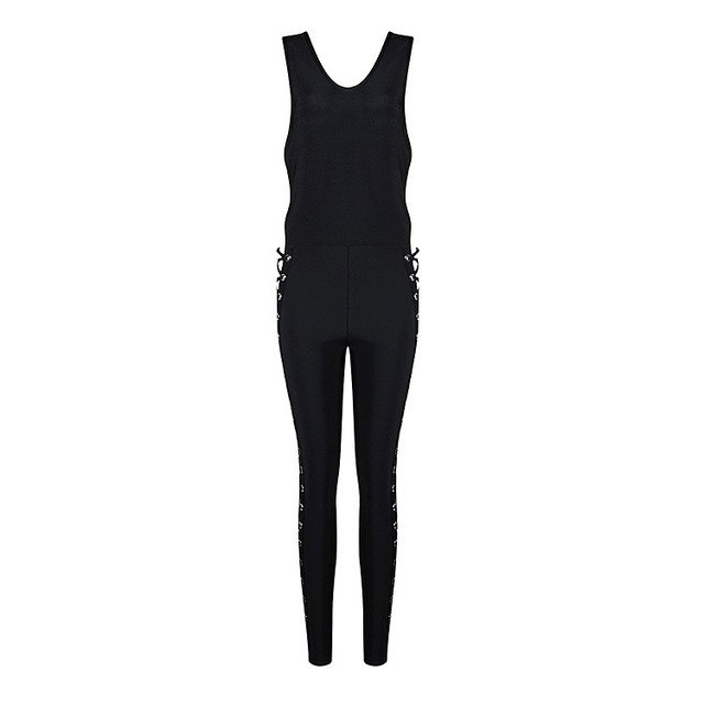 Mono Caliente de La Manera 2016 Mujeres Sexy Bodycon del vendaje Rayon HL Del Vendaje Mono Negro Mono Clubwear