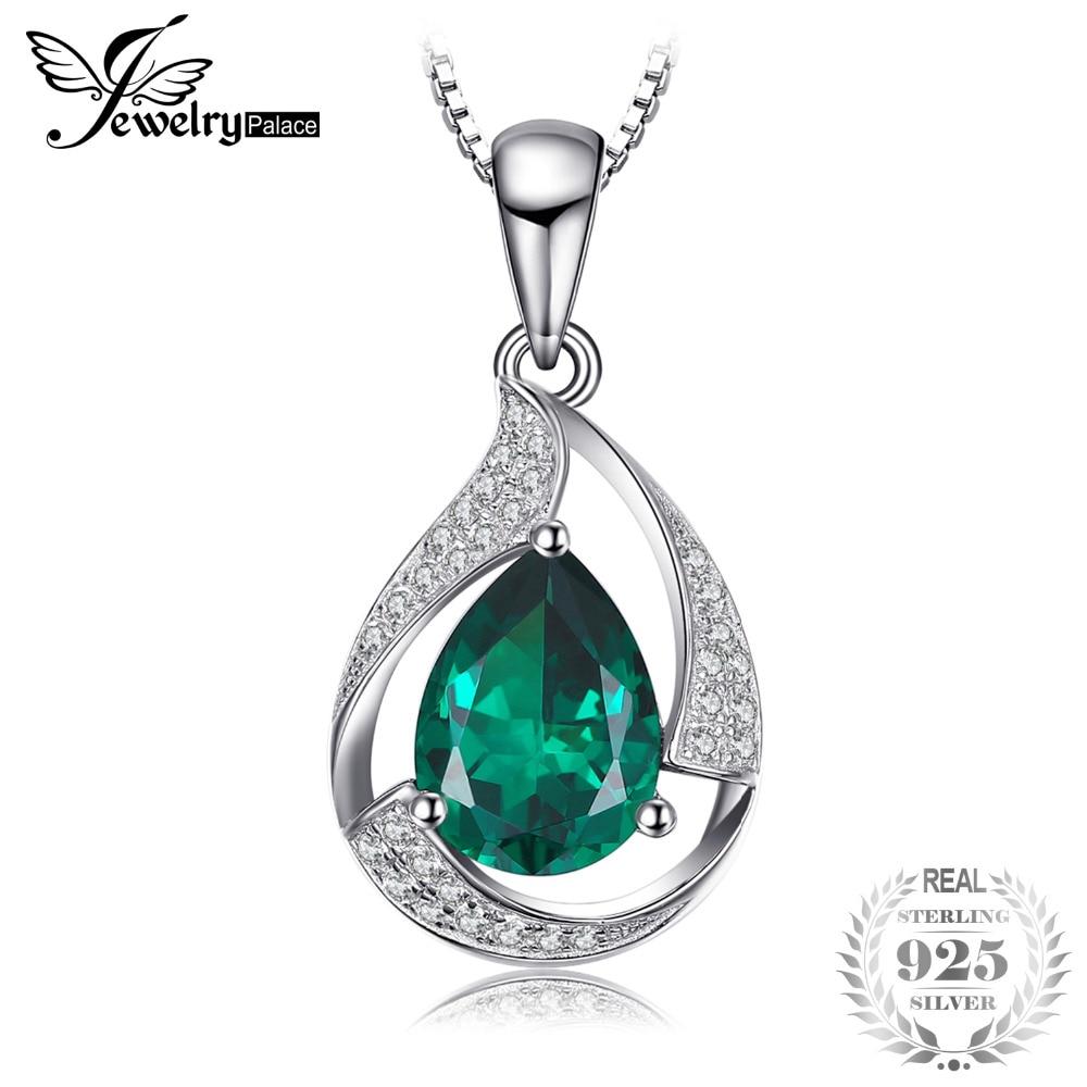 JewelryPalace Poire 2.7ct Créé Émeraude Pendentif 925 Sterling Argent En Gros De Mode Pendentif Sans Chaîne