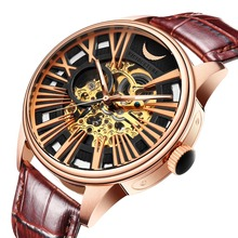 2019 New Hollow-out Automatic Mechanical Men's Watch Leisure Business Fashion Men's Waterproof Watches with True Leather Belt Me leisure automatic mechanical genuine leather waterproof watch with rome digital business for various occasions m163s