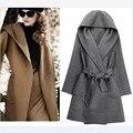 Mulheres Coats moda inverno 2014 sólidos Causal com capuz de lã mulheres casaco casaco de lã com cinto de inverno casaco mulheres como 012