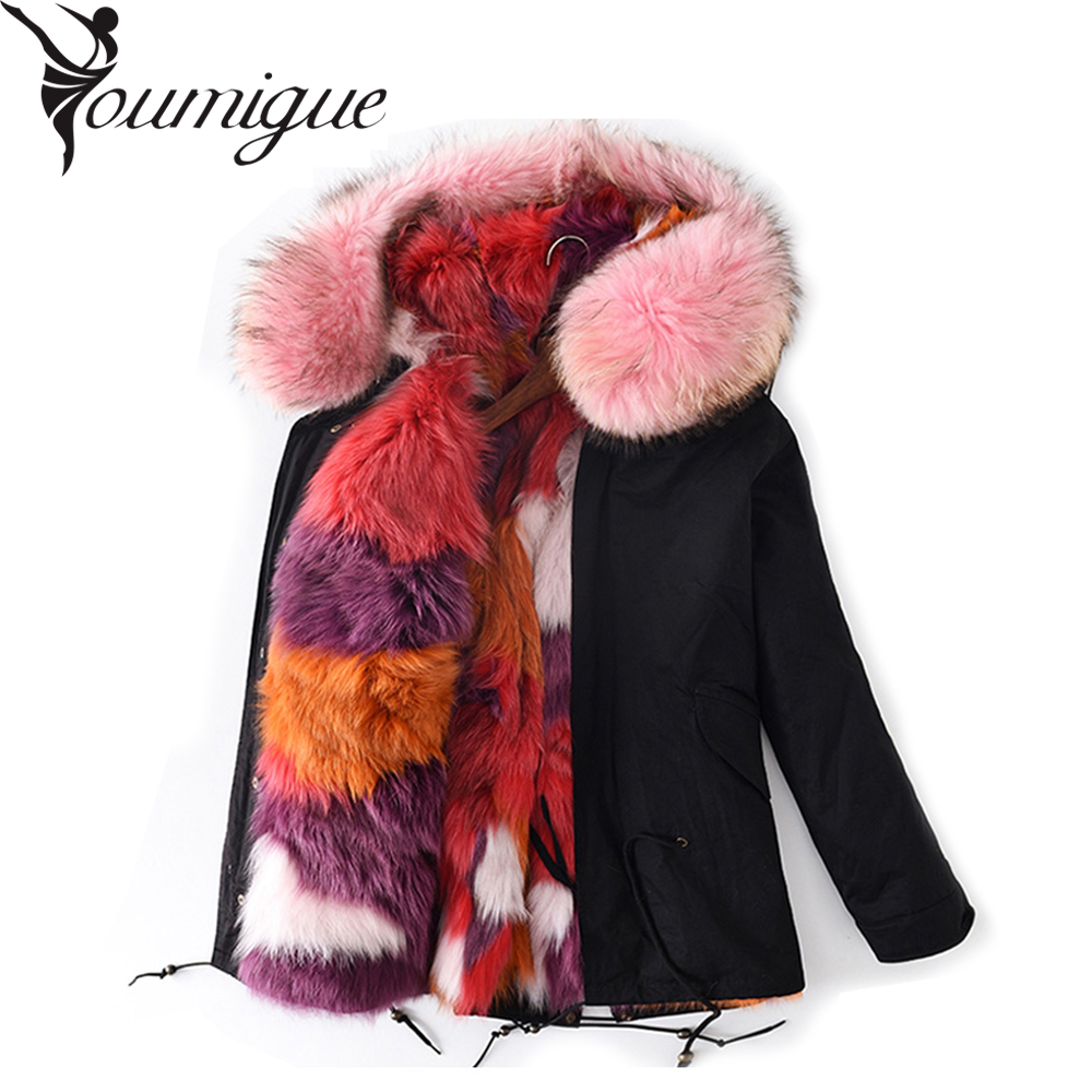YOUMIGUE Real Fox Fur Lining Green Parka with Big Raccoon Fur Hood Winter Coat for Women with Natural Fur Trim