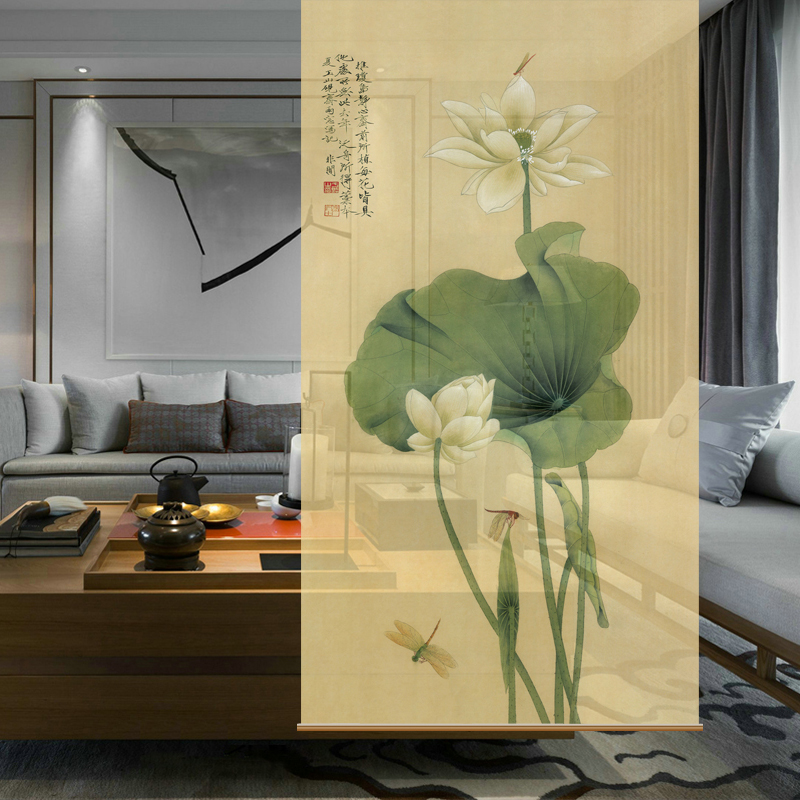 Hanging screen cut off the mysterious curtains soft cut off the fashionable living room Xuan Guan hanging screen [Lotus Series]