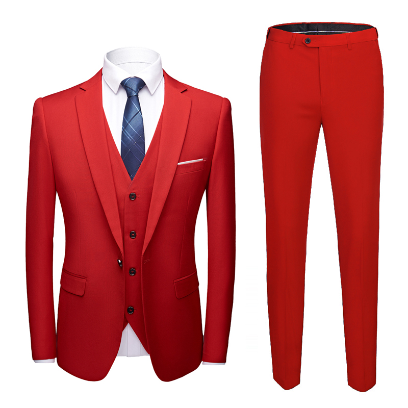 Jacket + trousers + vest suit three-piece men's groom wedding dress suit men's business casual official high-end custom suits