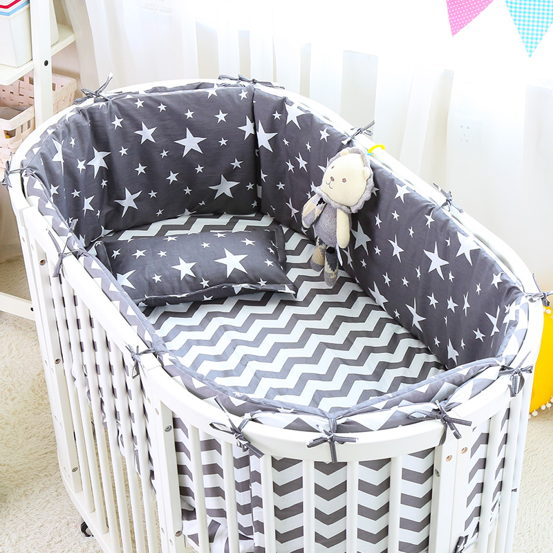 5pcs/set Star Print Cotton Baby Bedding Set Baby Oval Crib Bedding Set With Mattress Cover Safety Ergonomic Infant Baby Items