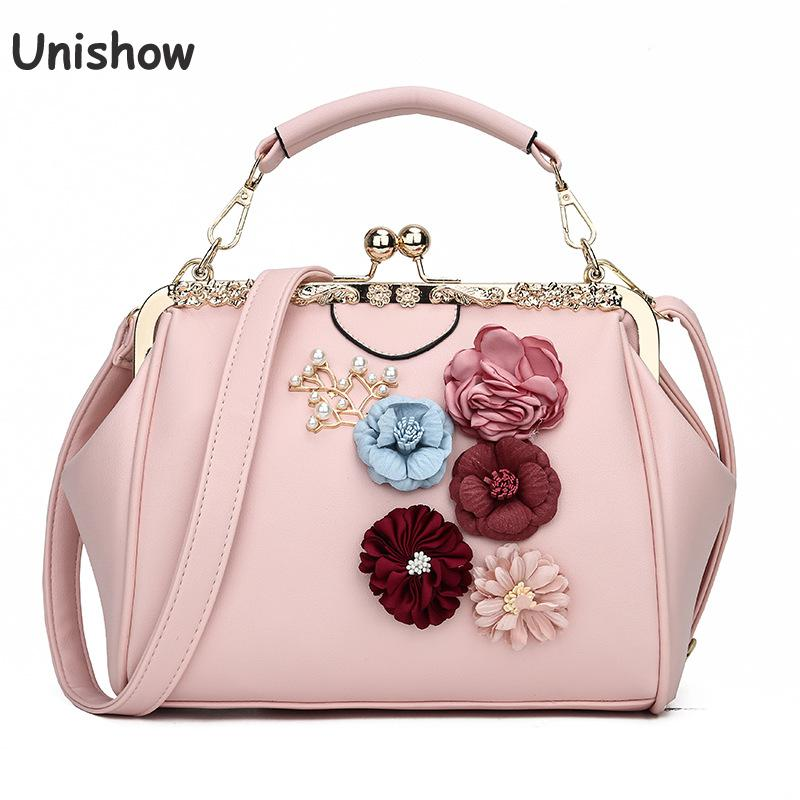 Unishow Embossed Flowers Women Handbags Small Clip Lock Women Messenger Bags Pu Leather Tote Bag Ladies Bolsa Feminina SacUnishow Embossed Flowers Women Handbags Small Clip Lock Women Messenger Bags Pu Leather Tote Bag Ladies Bolsa Feminina Sac