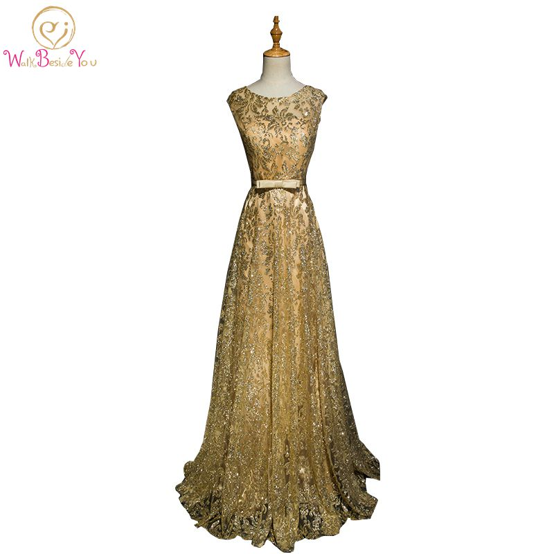 Walk Beside You Gold Evening Dresses Navy Blue Bling Long Vestido Longo De Festa 2019 Formal