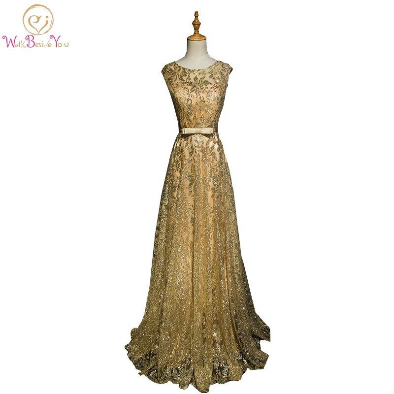 Marcher à côté De vous or robes De soirée bleu marine Bling Long Vestido Longo De Festa 2019 robe formelle robe De soirée robes De bal