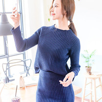 High Quality Dress Suit Woman 2017 Winter New Arrived Knitted Cotton Sweater Midi Skirts Split Stretch