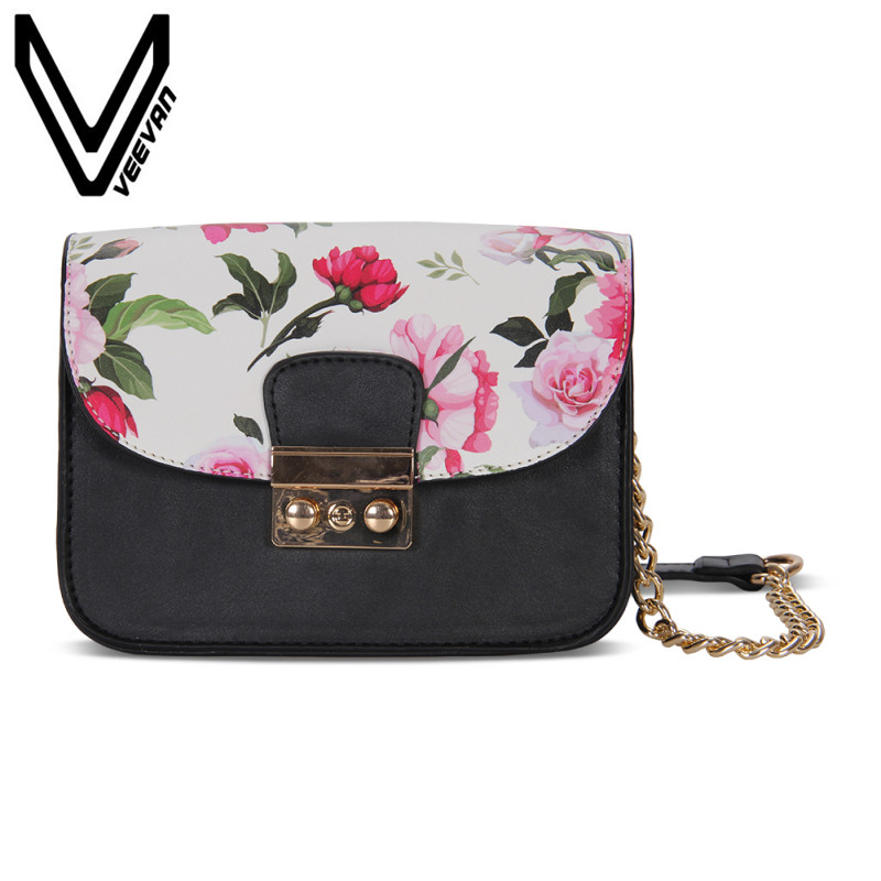 VEEVANV Famous Brand Leather Clutch Wallets Flowers Shoulder Purse Ladies Custom Chain sling bags for Women Crossbody Bag 2018