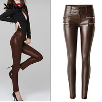 XIKOI Autumn Winter Bottoms Women Faux PU Leather Pants Low Waist Elastic Jeans Pants Long Slim Thick Warm Leggings For Women