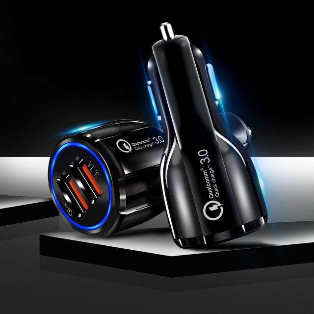 טלפון נייד מטען לרכב אביזרי מהיר USB מטען קישוט קישוטי עבור IPhone סמסונג Tablet 2 נמל 3.0 מהיר
