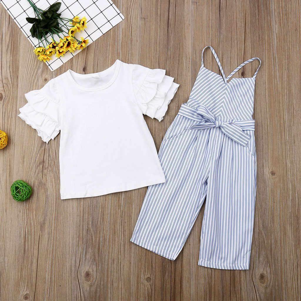 Детская одежда, Однотонная футболка с оборками для маленьких девочек, топы, полосатый комбинезон с бантом и поясом, комплект одежды из 2 предметов, MuqGew