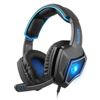 SADES Spirit Wolf GamingHeadphones 7.1 Surround Sound Stereo USB Headset Wired Led light Mic Noise Isolating Headphones for PC