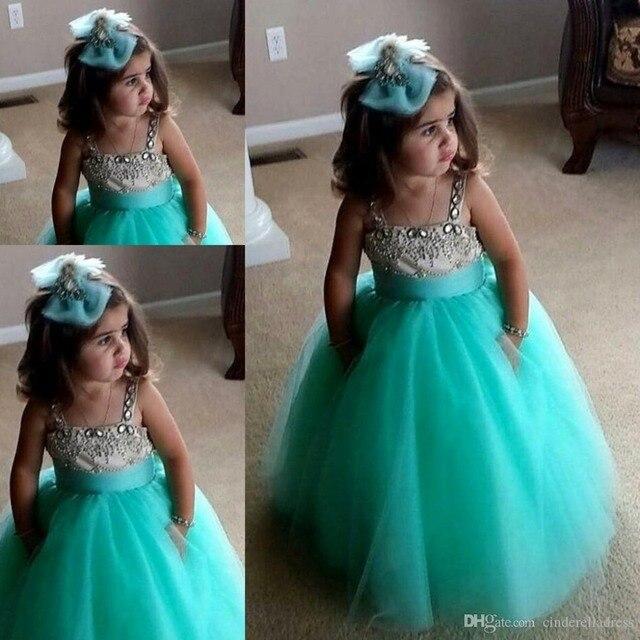 d6cc946b4 New Arrival Spaghetti Straps Sequined Mint Green Flower Girl Dresses Ball  Gown Custom Girls Btidesmaid Dresses Communion