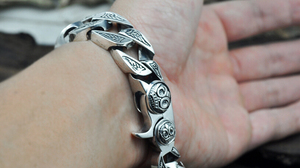 Image 5 - Chain & Link Bracelets Sterling 925 Silver Jewelry Thai Silver Man Male hip hop Motor Engine Big Thick Cross S925 Bracelet