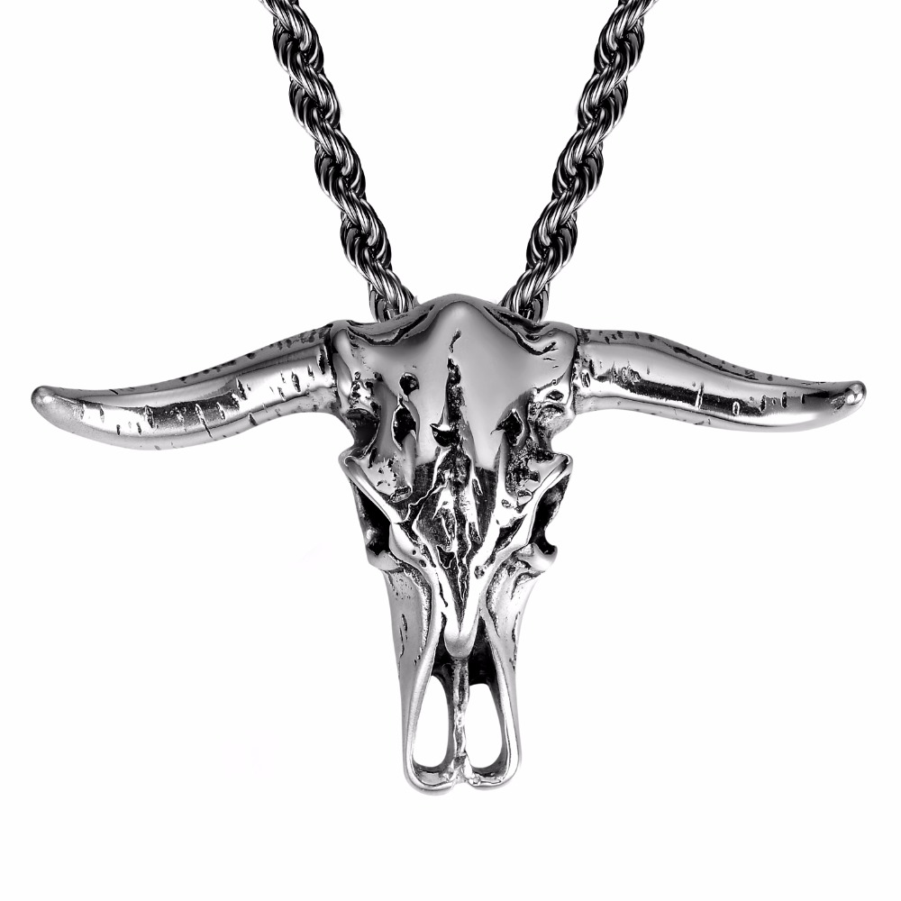 African Tribe Style Skull Head Bull Pendant Necklace For Man Boy Gothic Mens Stainless Steel Cow Jewellery with Free Chain