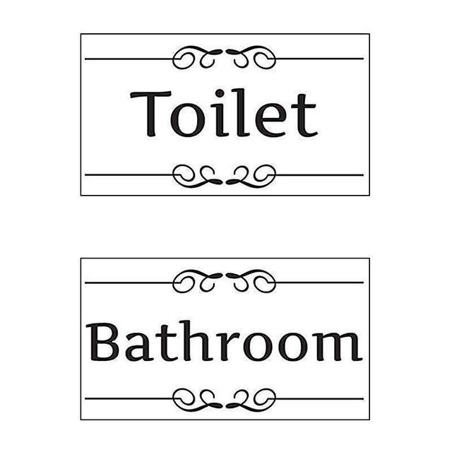 2pcs black bathroom toilet door sign wall stickers decal art diy home room entrance decoration shop - Black Hotel Decoration