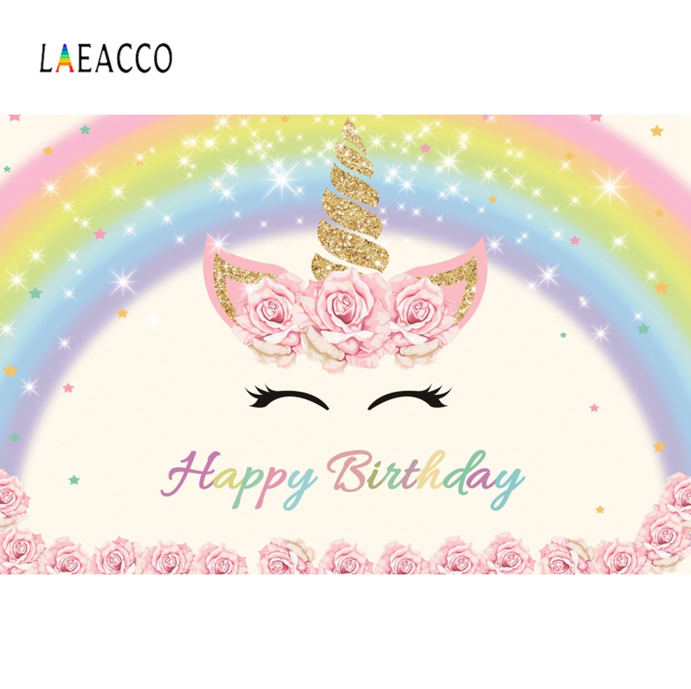 Laeacco Unicorn Colorful Rainbow Happy Birthday Party Portrait Baby Photo Backdrops Photographic Backgrounds For Photo Studio