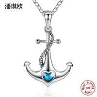2017 de Lujo Clásico 925 Sterling Silver Blue Heart Crystal Anchor Collares Pendientes para Las Mujeres Joyería Compatible con pan