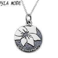 FYLA MODE 100% Real Pure 925 Sterling Silver Round Pendant Necklace Antique Silver God Mother Flower Carved Charm Necklace