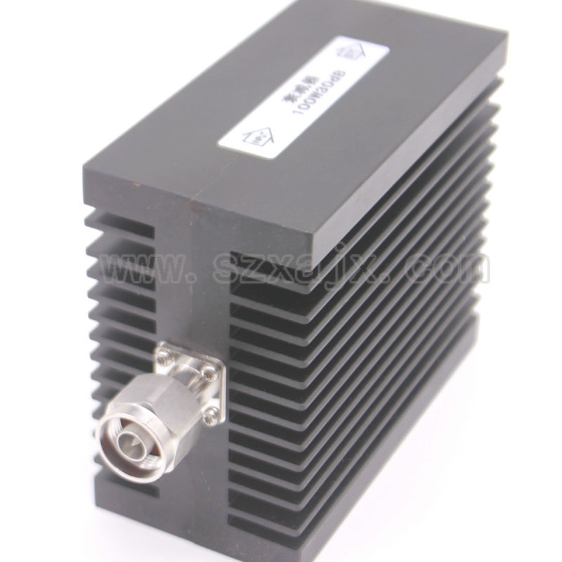 JX High power RF attenuator N male to N female 100W DC-3G-XDB(X:30DB) Heat sinks Free shipping high power 100w watt n male to n female attenuator dc 3ghz 30db coaxial power with heat sink attenuator free shipping