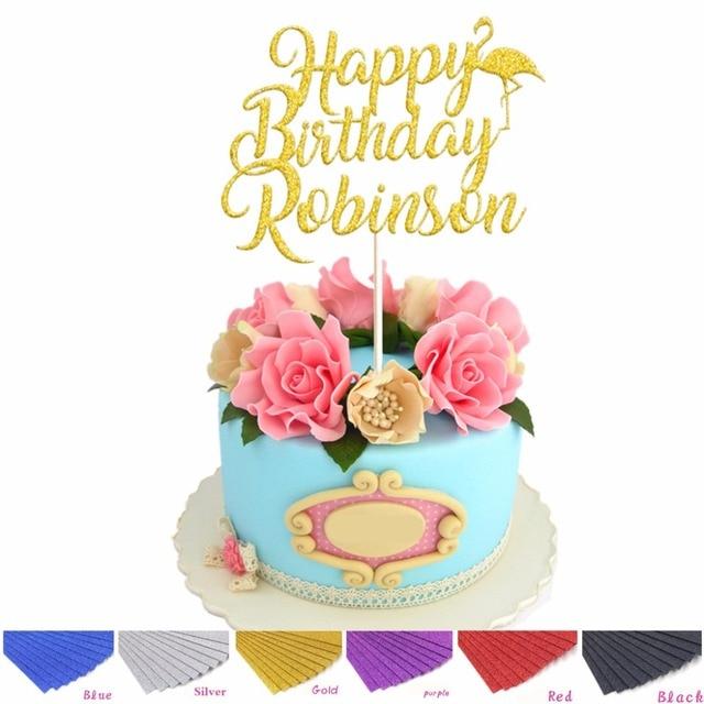 Personalised Custom Happy Birthday Flamingo Cake Topper In Glitter