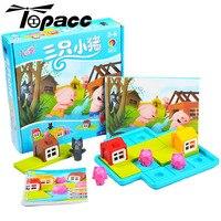 Детский блок цветная доска игра вызов Три поросенка для детей образовательный Рождественский подарок Интеллект игрушка пластик