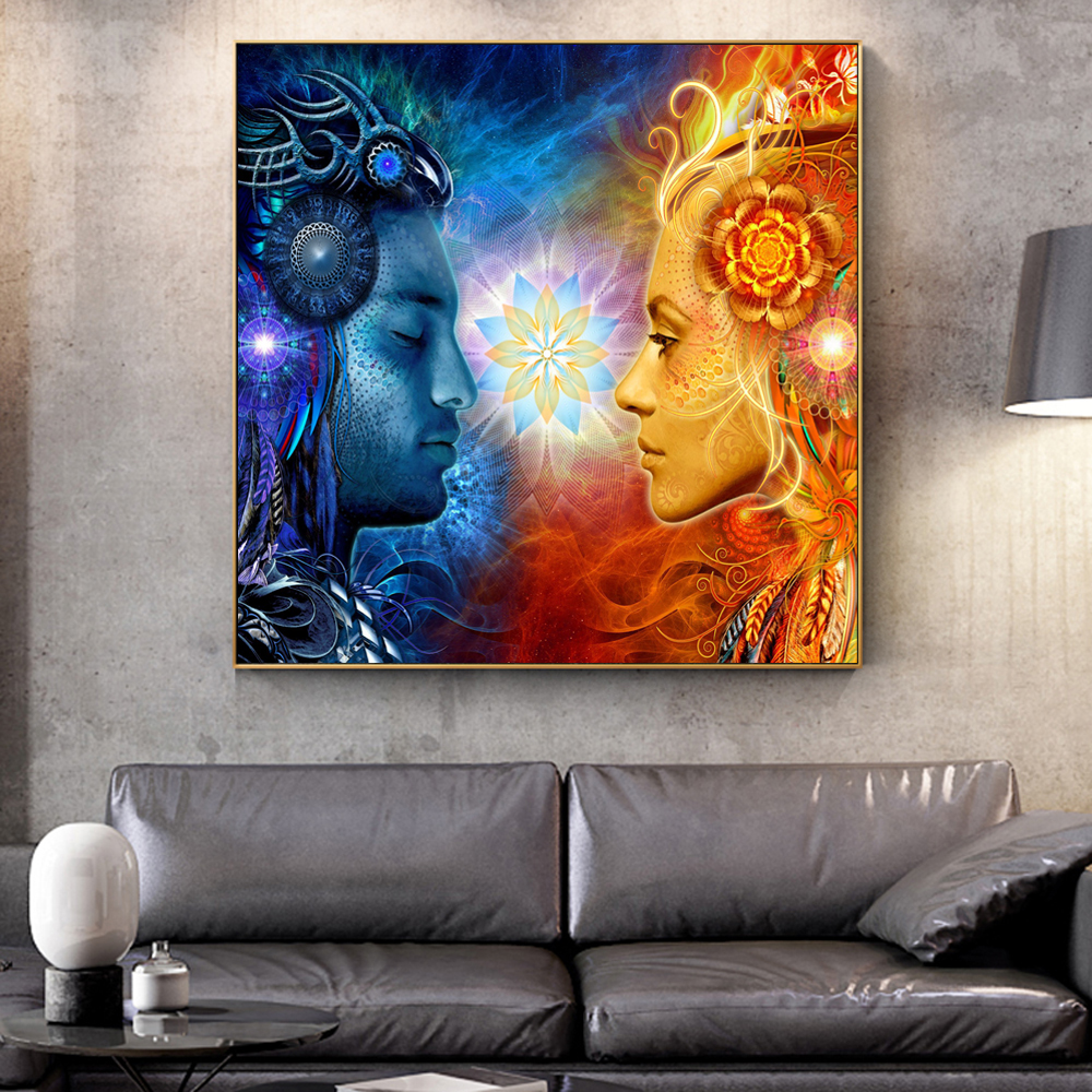 Tantra Shiva And Shakti Wall Posters Modern Hindu Gods Pop Art Canvas Prints Wall Painting Cuadros Picture For Living Room Decor