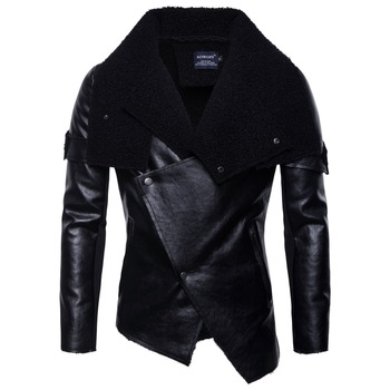 Men of new fund of 2018 autumn outfit locomotive fur clothing personality irregular punk leather jacket