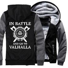 Uomini di lana casuale di linea tute sportive di marca di Inverno addensare con cappuccio felpe Odin Vichingo hip hop moda Vikings Odin giacche 2019