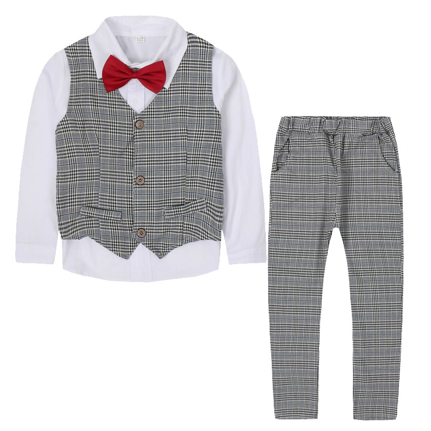 Boys Clothing Sets Flower Boys Blazers Suits For Wedding Preppy Style Plaid Outfits Waistcoats & Shirts & Pants 3Pcs 2 4 6 8 12 student performance clothes children clothing sets boys blazers wedding sets pieces boys tuxedo suits