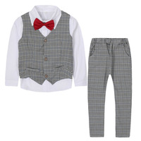 Boys Clothing Sets Flower Boys Blazers Suits For Wedding Preppy Style Plaid Outfits Waistcoats Shirts Pants