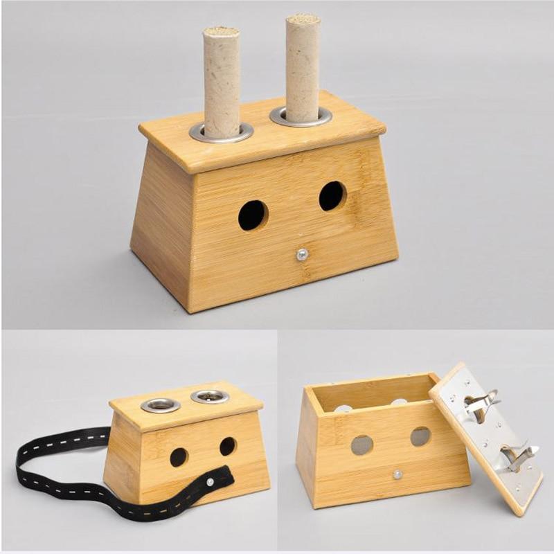 Case Moxibustion Acupoint Device-Tool Roll-Stick-Holder Wood-Box Massage Bamboo Sn-Hot