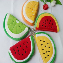 5pcs plush fruit bag,mobile key acc orange watermelon small zip change pocket,gift toy for wedding birthday party kids