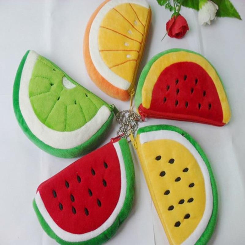 5pcs plīša augļu maisiņš, mobilā atslēga apelsīnu arbūzs mazā zip maiņas kabatā, dāvanu rotaļlieta kāzu dzimšanas dienas svinībām bērniem