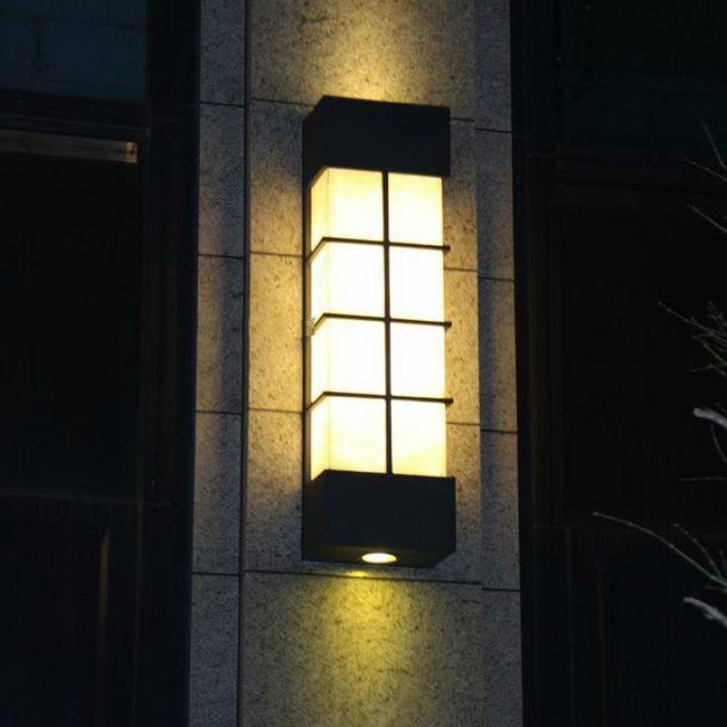 € 122.82 25% de réduction|Lampe de mur extérieure imperméable moderne de lumière de jardin de marbre artificiel allume l'éclairage extérieur de cour