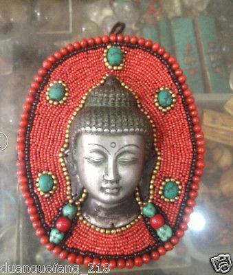 Tibet Buddhism Tibetan silver Turquoise Coral Shakyamuni Buddha Head Mask StatueTibet Buddhism Tibetan silver Turquoise Coral Shakyamuni Buddha Head Mask Statue