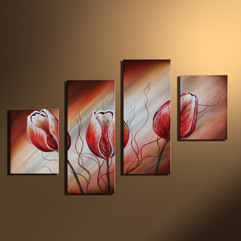 Classic Abstract White Red Flower Oil Paintings 4 Panel Set On Canvas Art Handmade Wall Pictures for Living Room Home Decoration