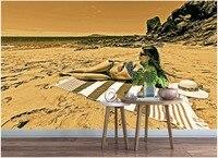 사용자 정의 벽화 3d 사진 벽지 벽에 일광욕 섹시한 여자 해변 홈 장식 3d 벽 벽화 벽지 3 d