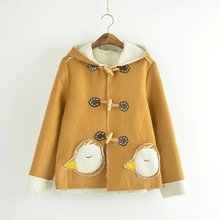New Student Woolen Coat Winter Autumn Fashion Chick Decoration Pocket Sweet Plus Velvet Thicken Hooded Wadded
