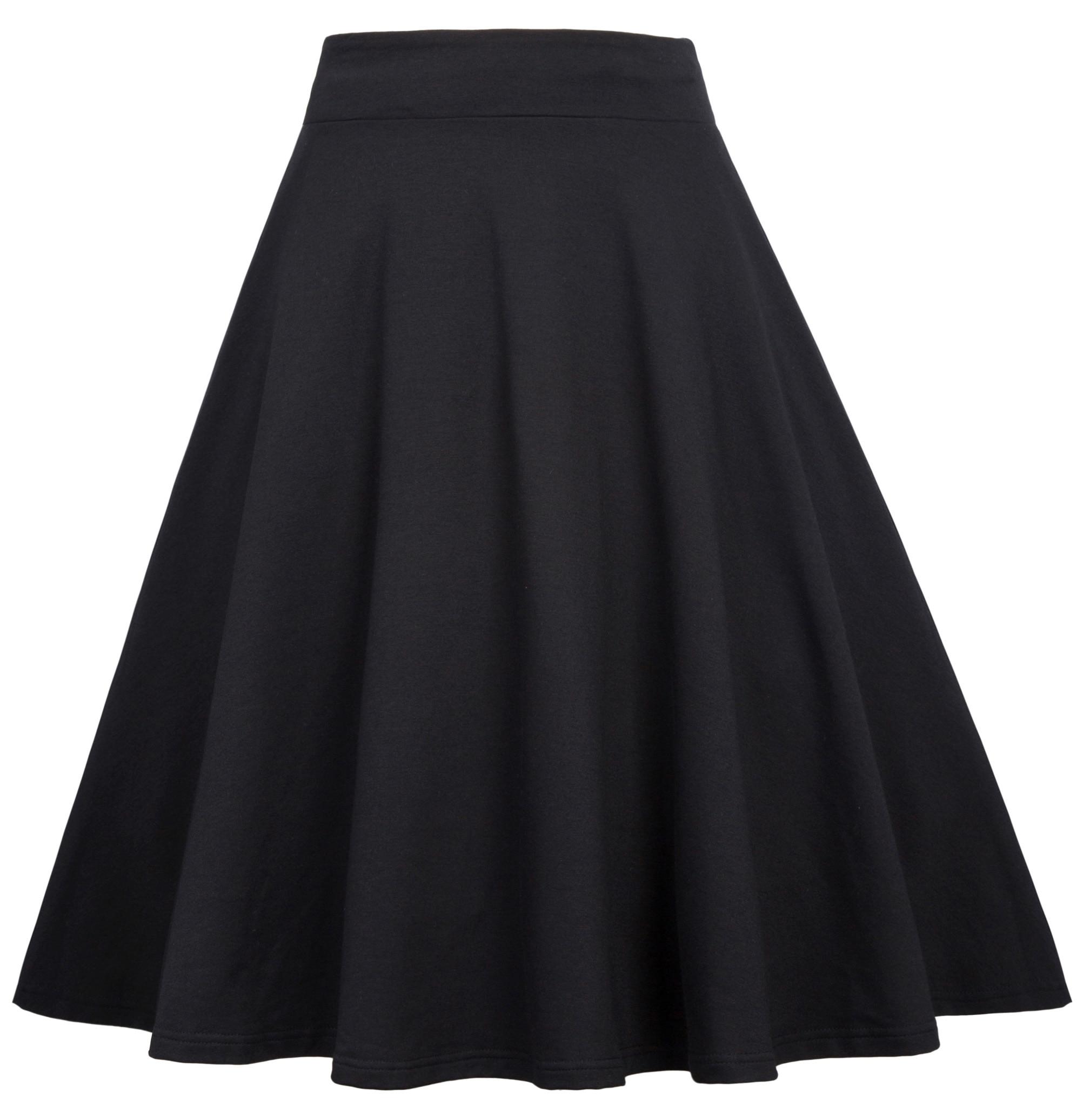 stock Women 90s retro Black skirt elegant Elastic Waist Stretchy Flared A-Line Skirts 27 japanese harajuku skirt saia plissada